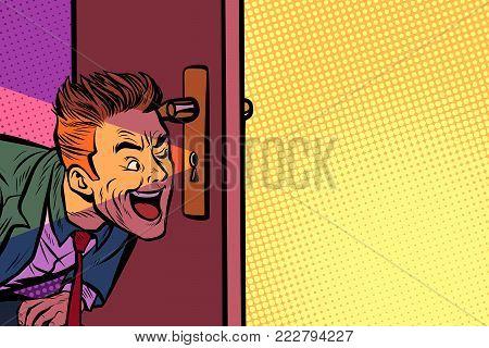 Businessman spying through the keyhole. Pop art retro comic book vector illustration