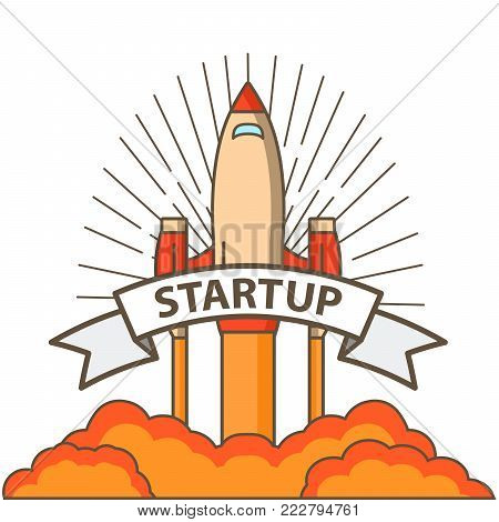 Start spaceship.logo, poster with flying up rocket. Start up of business. A concept of design of a banner for the websites,mobile applications.Launch spacecraft.Retro vintage style.