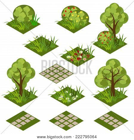 Garden or farm isometric tile set. Isolated isometric tiles with grass, flowers, bushes and trees to design garden landscape scene. Use in cartoon or game asset. Vector illustration poster