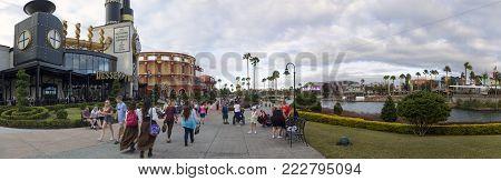 Orlando, Florida, Usa - November 3: People Walk Universal City Walk Path At Universal Studios.  Take