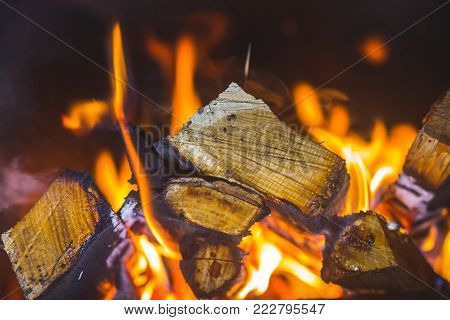 in the fireplace a bright fire burns wood, warms the room and creates a cosiness