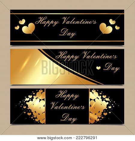 Happy Valentines Day luxury gold and black horizontal banners with hearts. Shiny love background, wedding header or card design. Vector, illustration, eps10