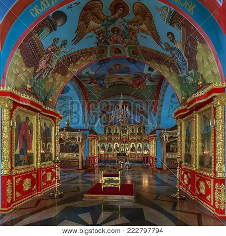 ASTRAKHAN, RUSSIA, 23 OCTOBER 2017: Great decoration and interior inside of the Assumption Cathedral on the territory of the Astrakhan Kremlin