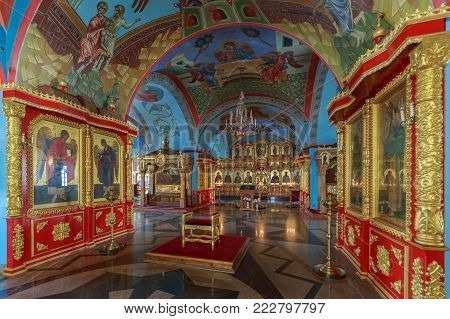 ASTRAKHAN, RUSSIA, 23 OCTOBER 2017: Beautiful interior inside of the Assumption Cathedral on the territory of the Astrakhan Kremlin