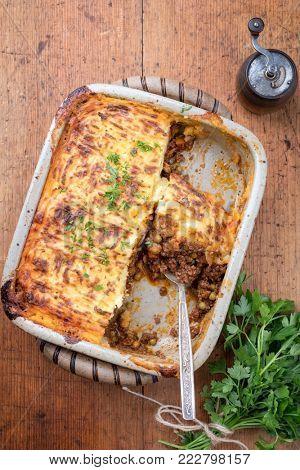 English shepherds pie as top-view in a backing dish