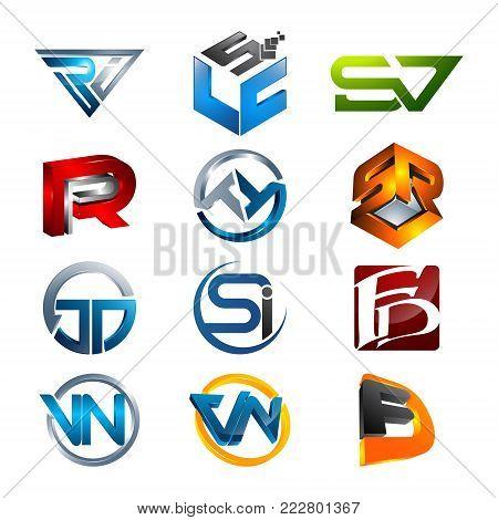 3D letters RI, LCS, SV, PR TT, SR, JD, SI, FD, VN, FD initial alphabet logo design template elements