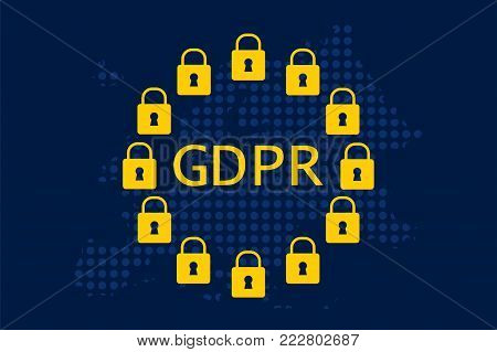 General Data Protection Regulation (GDPR) with yellow european union stars color padlocks on european dotty map illustration vector