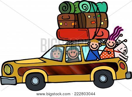 A fun cartoon doodle of a family packed into a station wagon as they set of for a road trip.