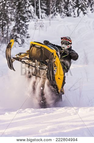 Snowmobile Adventure in the winter landscape outdoor travel