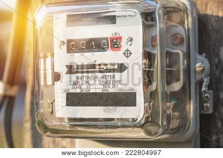 Analog electric meters. Watt hour electric meters. Electricity concept.
