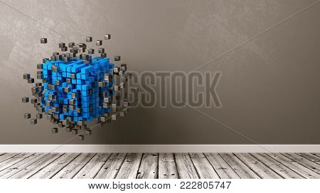 Cubes Aggregation in the Room with Copyspace 3D Illustration