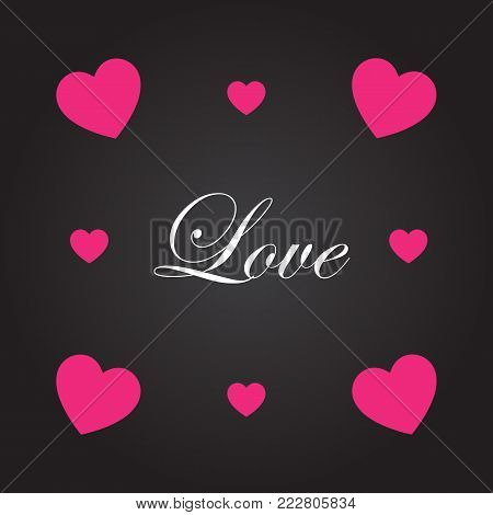 Four-cornered heart with love letter. Vector illustration.