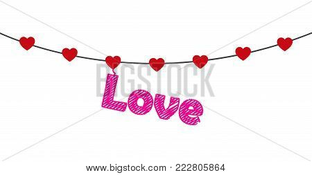 Queued rows of hearts with love letter. Vector illustration.