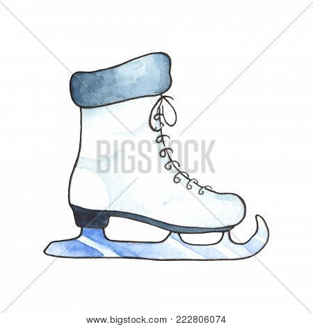 Female skating shoe watercolor illustration on white background. Winter season outdoor activity clipart. Comfort winter lifestyle. Woman skating handdrawn logo. Ice skating icon. White shoe with skate