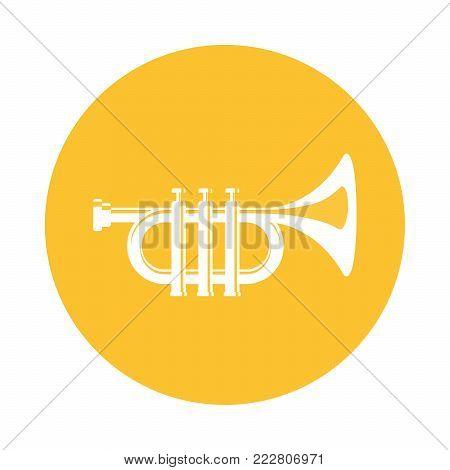 Vector flat icon musical instrument trumpet web design symbol