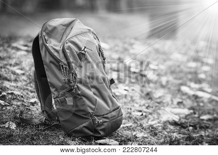 Sports backpack on grass in black and white. Travel and hiking concept. Rukzak without man. Do not come back from dangerous journey through wild. Traveler's insurance and safety