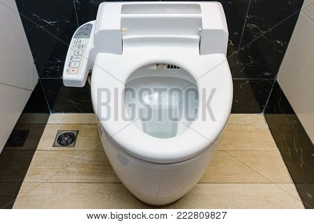 Modern high tech toilet with hygienic and high technology of the toilet bowl, automatic flush toilet