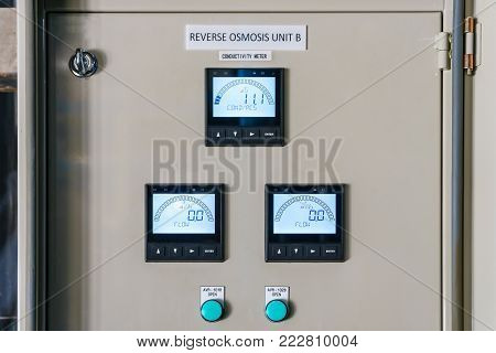 Technical display on control panel with electrical equipment devices cabinet of reverse osmosis system