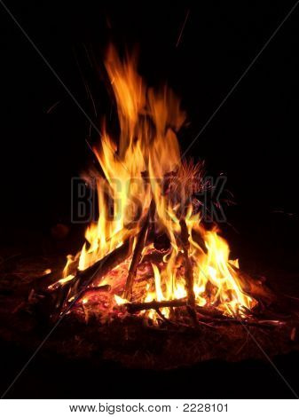 Flames of a campfire in the night poster