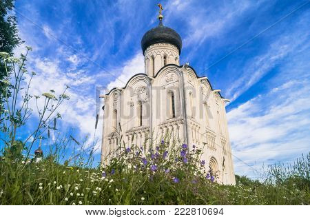 Ancient orthodox Church of the Intercession on the Nerl River. Summer landscape. Russia.