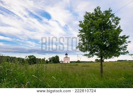 View through the Bogolyubovo meadow towards the ancient orthodox Church of the Intercession on the Nerl River. Summer landscape. Russia.