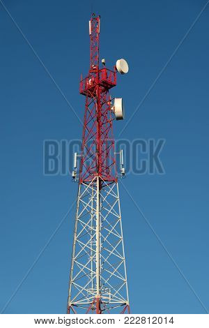 cellular tower on a background of blue sky