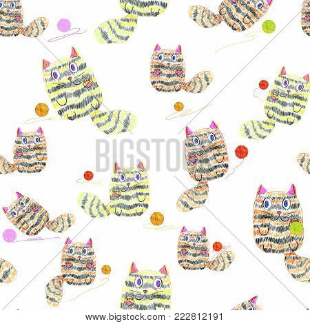 Seamless pattern with hand drawn cats playing with clews on white background. Children's pencil drawing simulation.