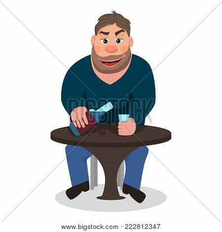 Vector illustration of a cartoon man drinking alcohol. Isolated white background. A man is sitting at a table with a bottle of alcohol and a glass. Flat style. Concept of alcohol abuse, dependence.