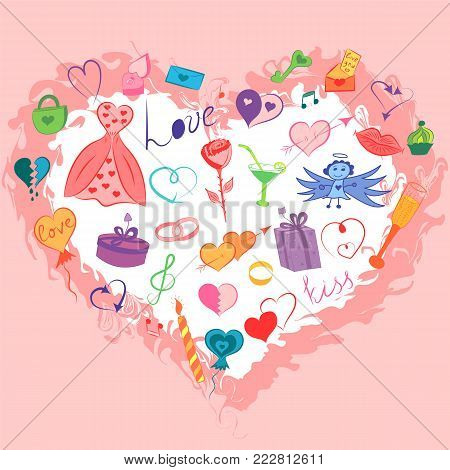 Colorful Hand Drawn Set of Valentine's Day Symbols.  Funny Doodle Drawings of Hearts, Gifts, Rings, Balloons Arranged in a shape of Heart.  Vector Illustration.