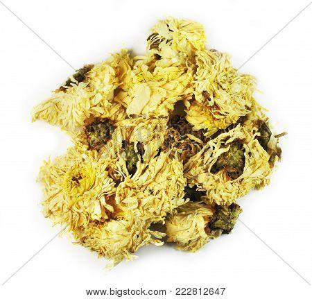 Flos Chrysanthemi, flower,  chinese herbal medicine isolated. Ju Hua