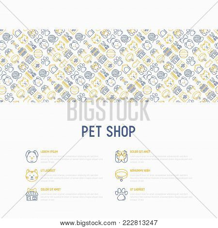 Pet shop concept with thin line icons: cat, dog, collar, kennel, grooming, food, toys. Modern vector illustration, web page template. poster