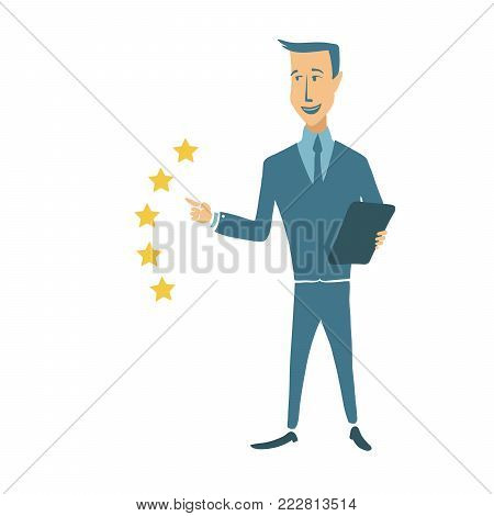 Young businessman appreciates the service on a five-point scale. A five star rating. Concept on the topic of benchmarking. Vector illustration, isolated on white background.