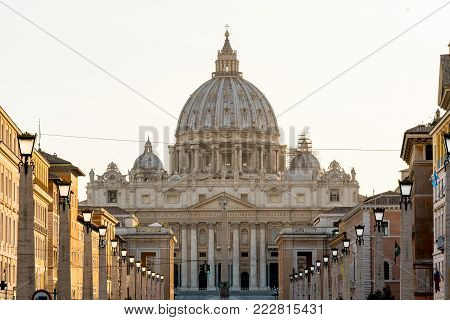 Detail of the St Peter's Basilica in Vatican. Statues on the top of St Peter's Basilica in Vatican City.