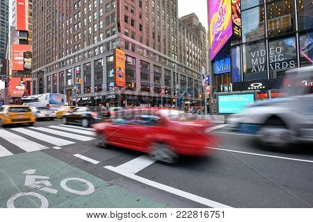 NEW YORK CITY, USA - AUG. 26: Traffic on street in Manhattan on August 26, 2017 in New York City, NY. Manhattan is the most densely populated borough of New York City.