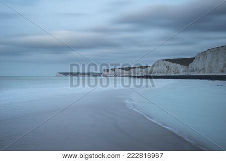 Stunning, Vibrant Sunrise Landscape Image Of Barafundle Bay On Pembrokeshire Coast In Wales
