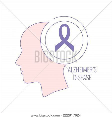 Alzheimer's disease poster with woman's silhouette and purple ribbon on white background. Side view. Body anatomy sign. Medical solidarity day concept. Line style vector illustration.