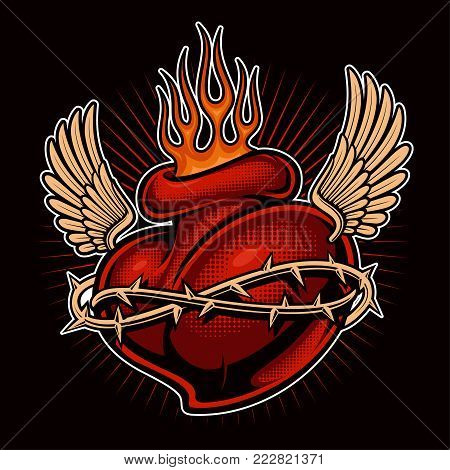 Tattoo heart with flame and wings . Chicano tattoo shirt design. Tattoo art. All elements, colors are on the separate layers. (color version)