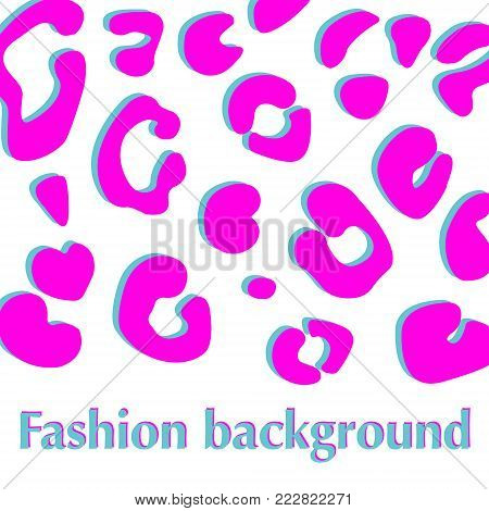 Background with pink leopard pelt texture. Fashion animal print pattern. Vector illustration.
