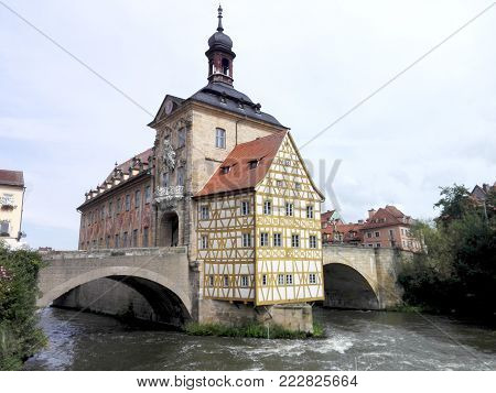 The Old Town Hall of Bamberg, historical landmark, built in the Regnitz River and connected with bridges. important building of the city