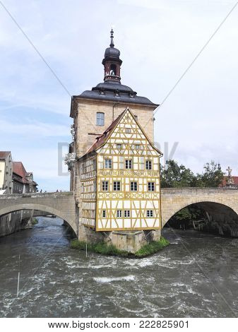Bamberg in Upper Franconia, Germany, the Old Town Hall of Bamberg in Bavaria, historical landmark, built in the Regnitz River and connected with bridges. important building of the city,