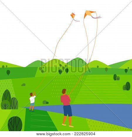 Green valley landscape. Colorful cartoon nature scene. Summer season family weekend. Vacation leisure activity. Adult, boy kiting on river. Father son with kites on lake. Vector countryside background