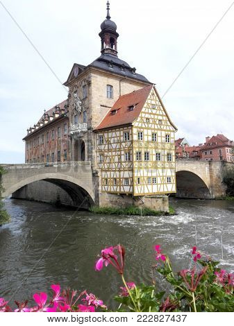 The Old Town Hall of Bamberg in Upper Franconia, Germany, historical landmark, built in the Regnitz River and connected with bridges. important building of the city