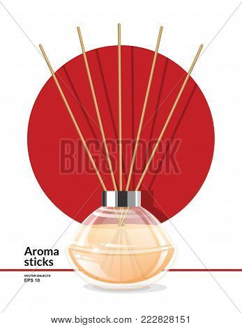 Aroma reed diffuser with wooden sticks. Home Fragrance. Vector illustration
