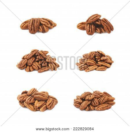 Pile of pecan nuts isolated over the white background, set of six different foreshortenings