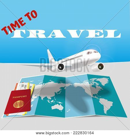 The plane flies over passport with ticket and map.Travel concept background. Stock vector realistic illustration.
