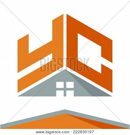icon logo for construction business with the concept of roofs and combinations of letters Y & C