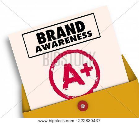 Brand Awareness Report Card A Plus Grade 3d Illustration