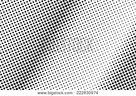Black white dotted halftone. Half tone vector background. Regular frequent dotted gradient. Abstract monochrome texture. Black ink dot on transparent backdrop. Pop art dotwork. Retro design template