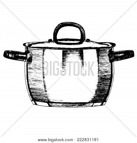 Hand drawn Metal Pot or Casserole Kitchen Utensils for Home and Restaurant. Vector illustration isolated on white background