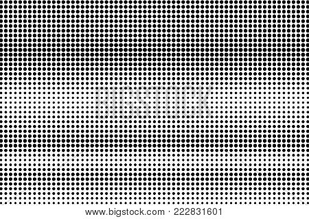 Black white subtle horizontal dotted gradient. Half tone vector background. Greyscale dotted halftone. Abstract monochrome texture. Black ink dot on transparent backdrop. Pop art dotwork. Retro design
